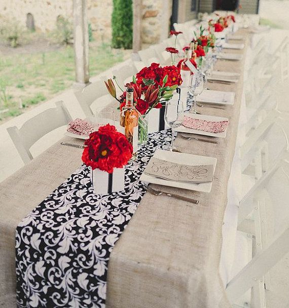 Wedding Black and White Damask Table Runner Linens & Iu0027m loving the damask on a natural toned tablecloth with pops of red ...