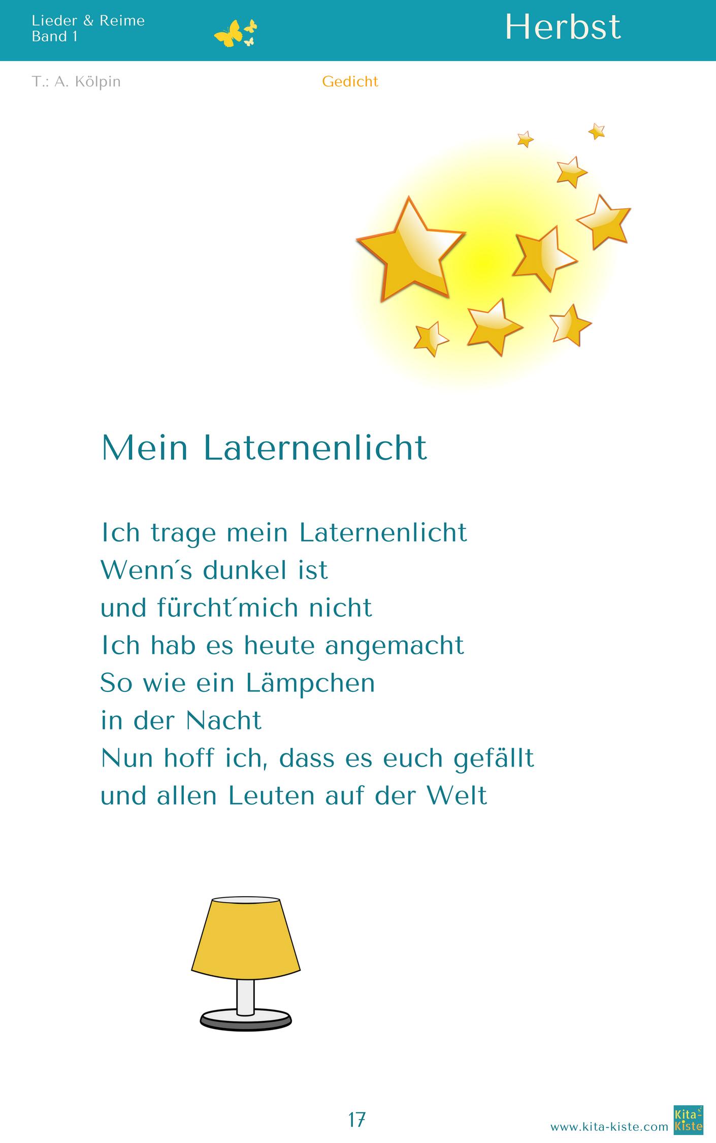 """""""Mein Laternenlicht"""" Herbst Gedicht aus """"Lieder & Reime 1"""""""