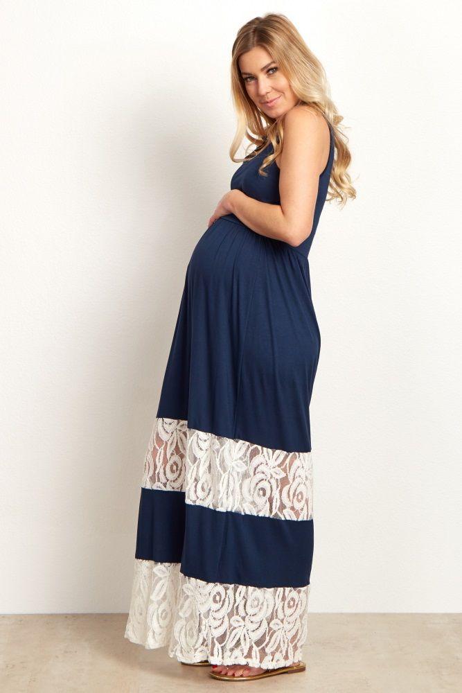 98f2cec55ef Navy Blue Lace Colorblock Maternity Maxi Dress