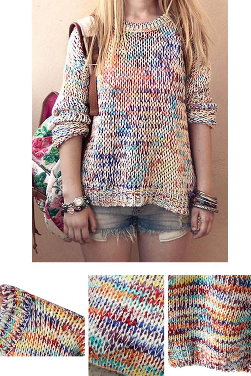 5fd762575b Multicolor Tie Dye Knitted Loose Sweater