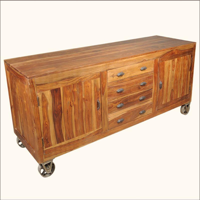 Solid Indian Rosewood Buffet Cabinet On Wheels. For Flexible Work Space In  Open Plan Kitchen/dining