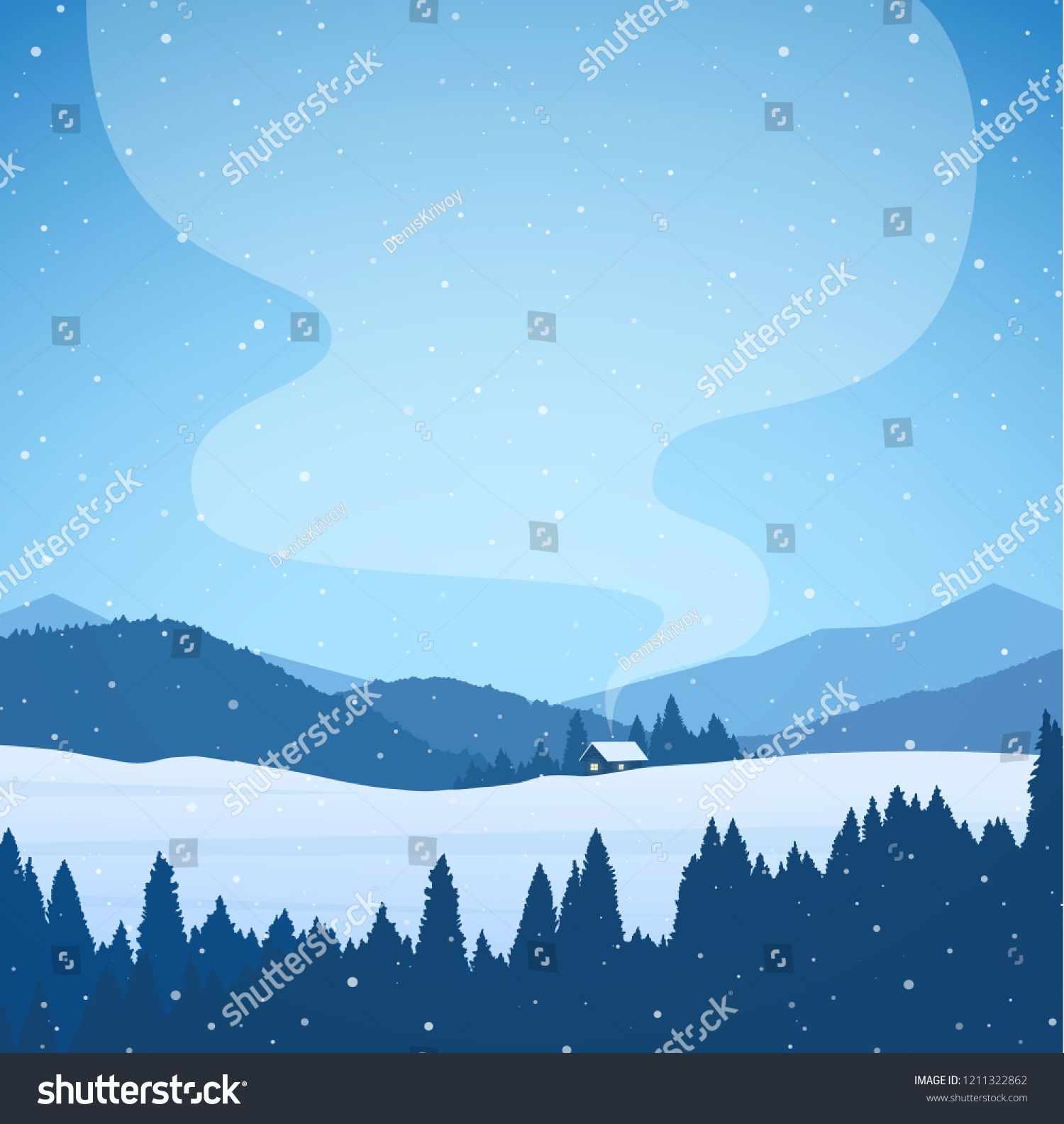 Vector Illustration Winter Cartoon Snowy Mountains Landscape With Forest House And Smoke From Chimney Ca Mountain Landscape Vector Illustration Illustration