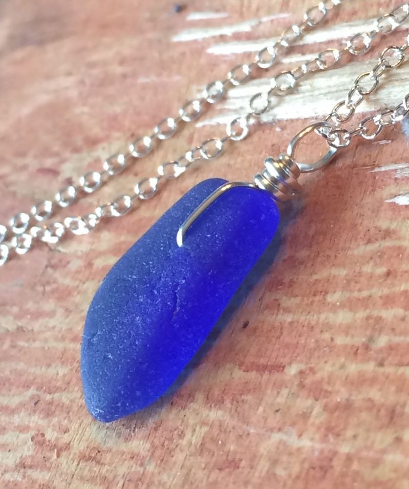 Blue Sea Glass Necklace 20 Sterling Silver Wire Wrap Dainty Elegant