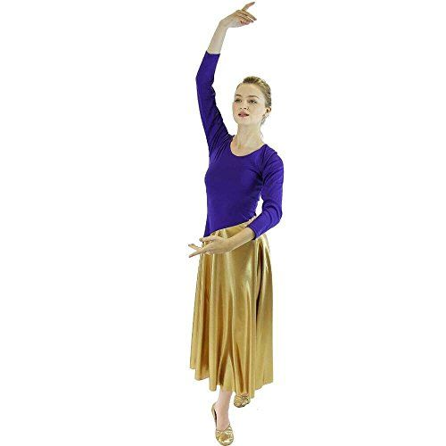 94dc477d39cf2 Danzcue Womens Bi Color Long Sleeve Worship Dance Dress PurpleGold SM *  Find out more about the great product at the image link.  #SportDressesForWomen