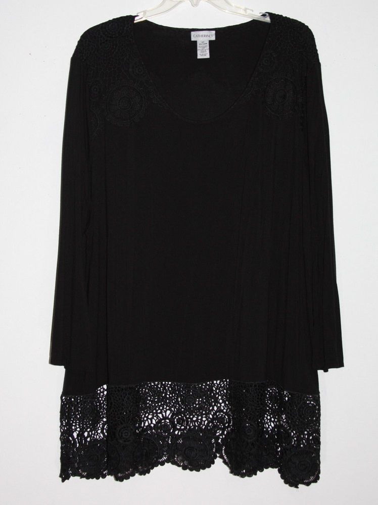 Catherines 4x 3032w Black Top With Gorgeous Lace Details Plus Size