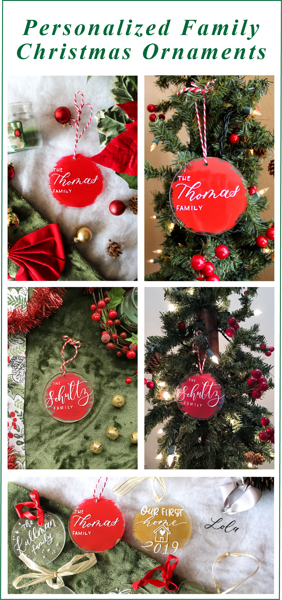 Wichita Calligraph Emilly Elle Designs Personalized Christmas Ornaments Family Personalized Family Ornaments Personalized Christmas Ornaments