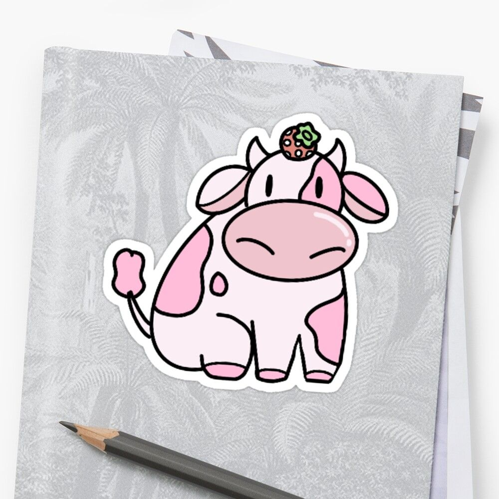 Strawberry Cow Sticker By Dinostickerss In 2020 Cow Painting Cute Cows Cow Drawing
