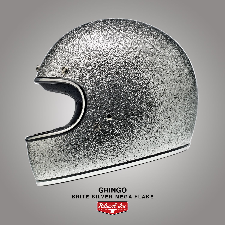 XX-Large//DOT//ECE Brite Silver Mega Flake Biltwell Gringo Helmet