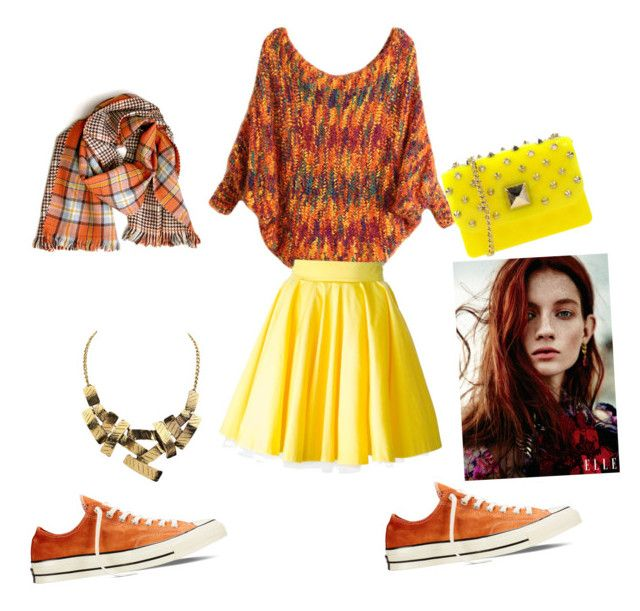 """""""Orange and yellow"""" by earlyriserkitty on Polyvore featuring Philipp Plein, Converse and Hervê Guyel"""