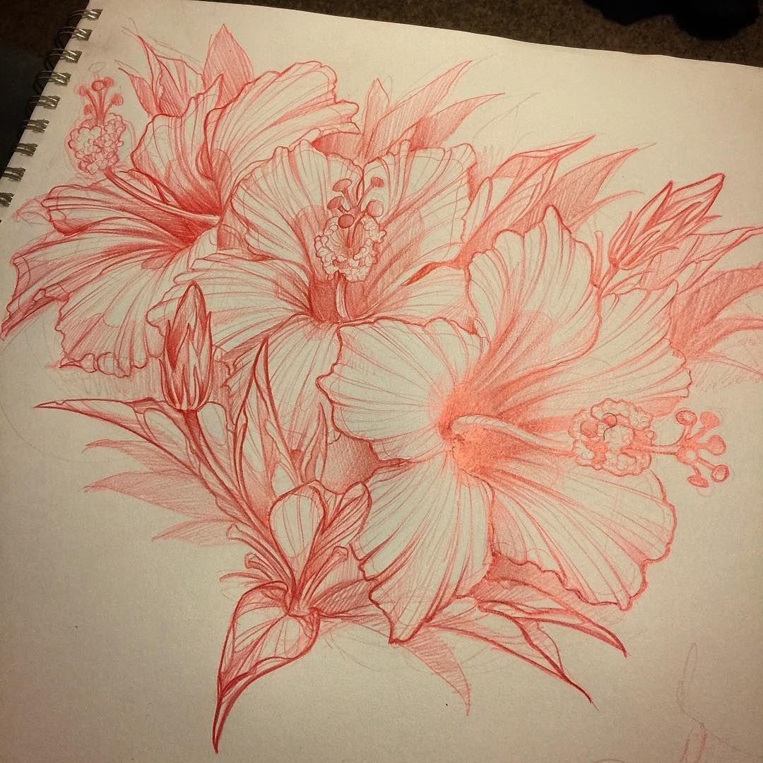 Just drawin some hibiscus. #hibiscus #hibiscustattoo # ...