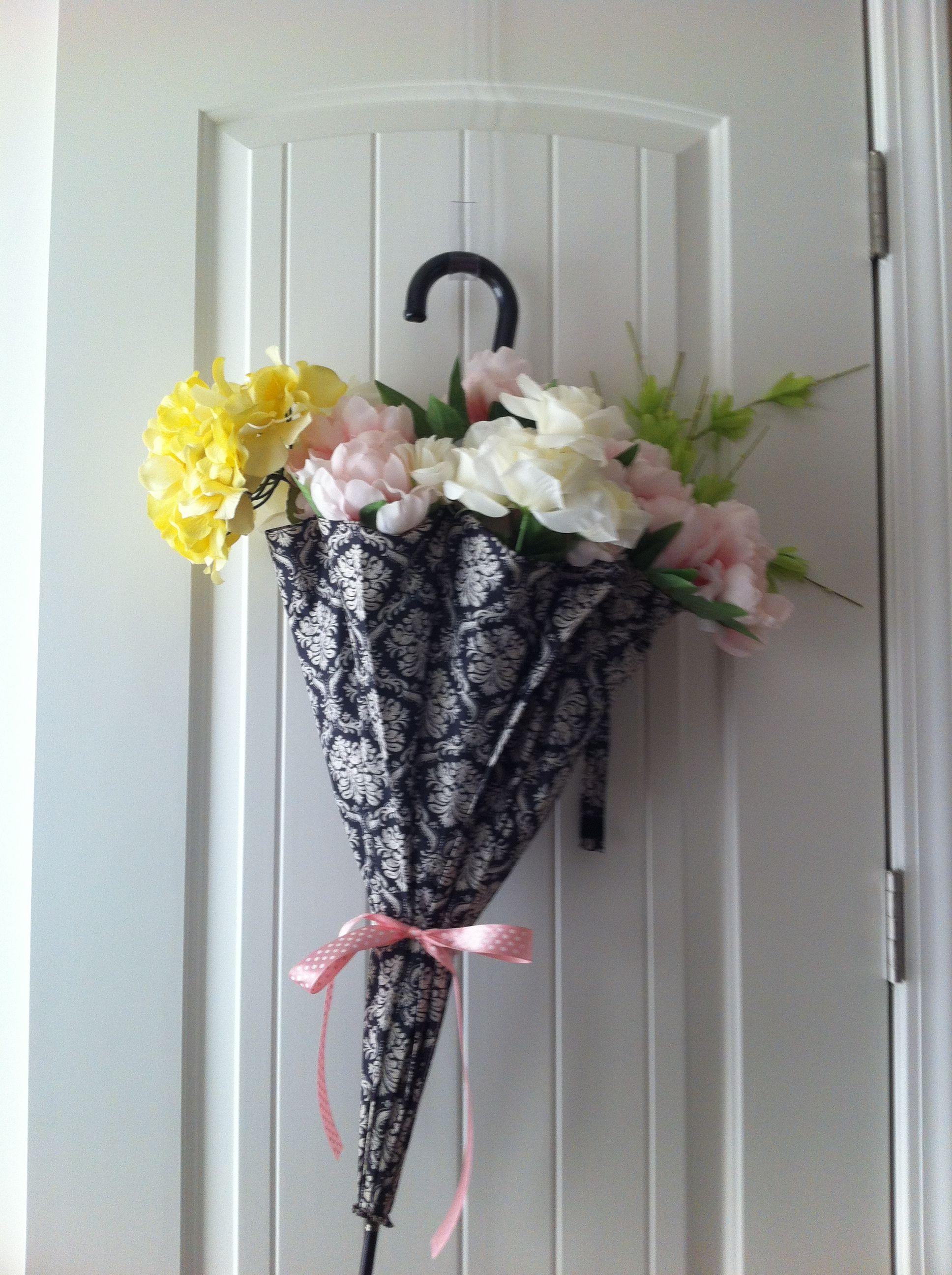 Umbrella Flower Arrangement For Front Door At Baby Shower Finished