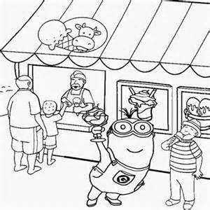 Seaside Shop Ice Cream Party Two Eyed Minion Coloring Pages Printable Minion Coloring Pages Coloring Pages Free Coloring Pages