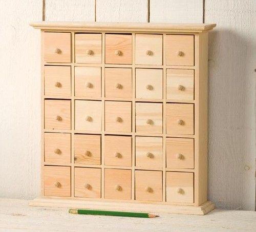 Diy Advent Calendar Drawers : Drawer plain wooden storage box ideal advent calendar