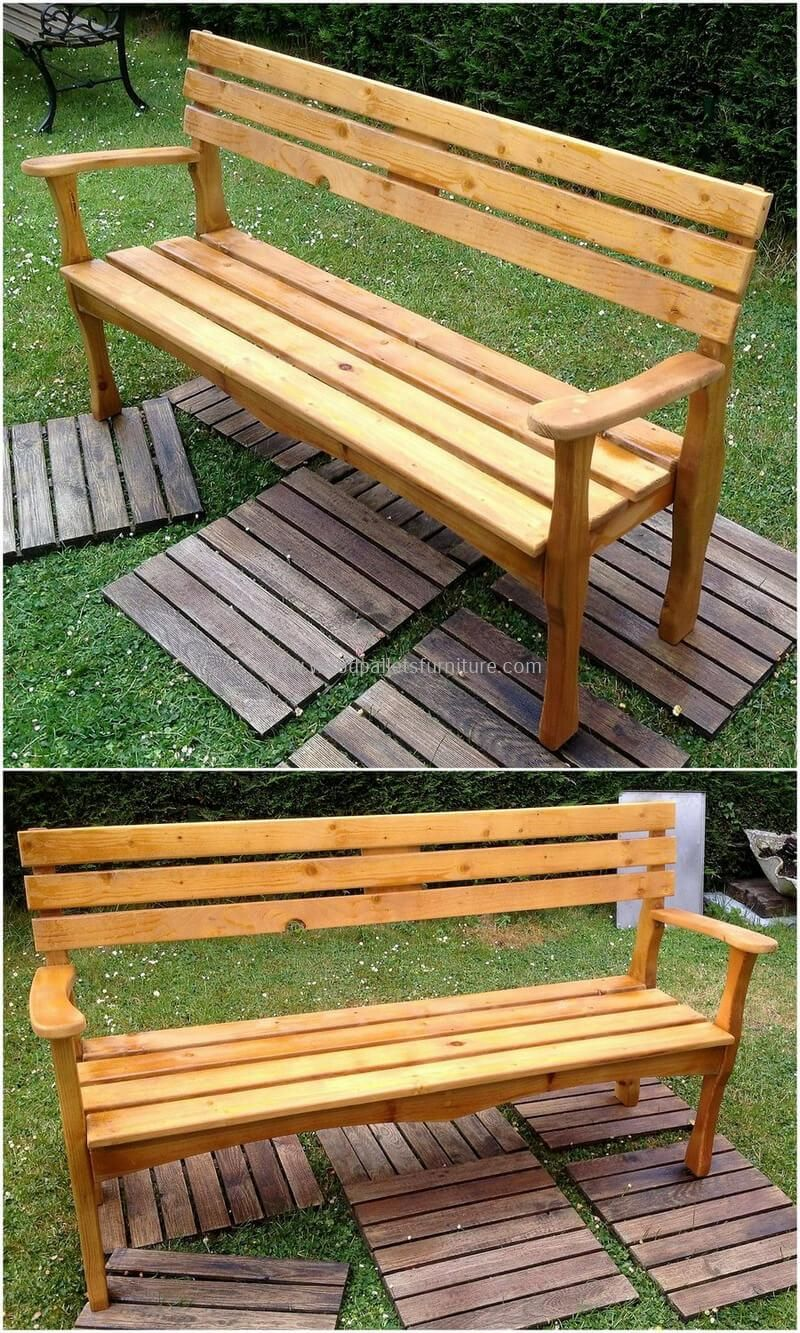 Captivating Pallets Made Patio Bench Pallet Wood, Wooden Pallets, Pallet Benches, Scrap Wood  Projects