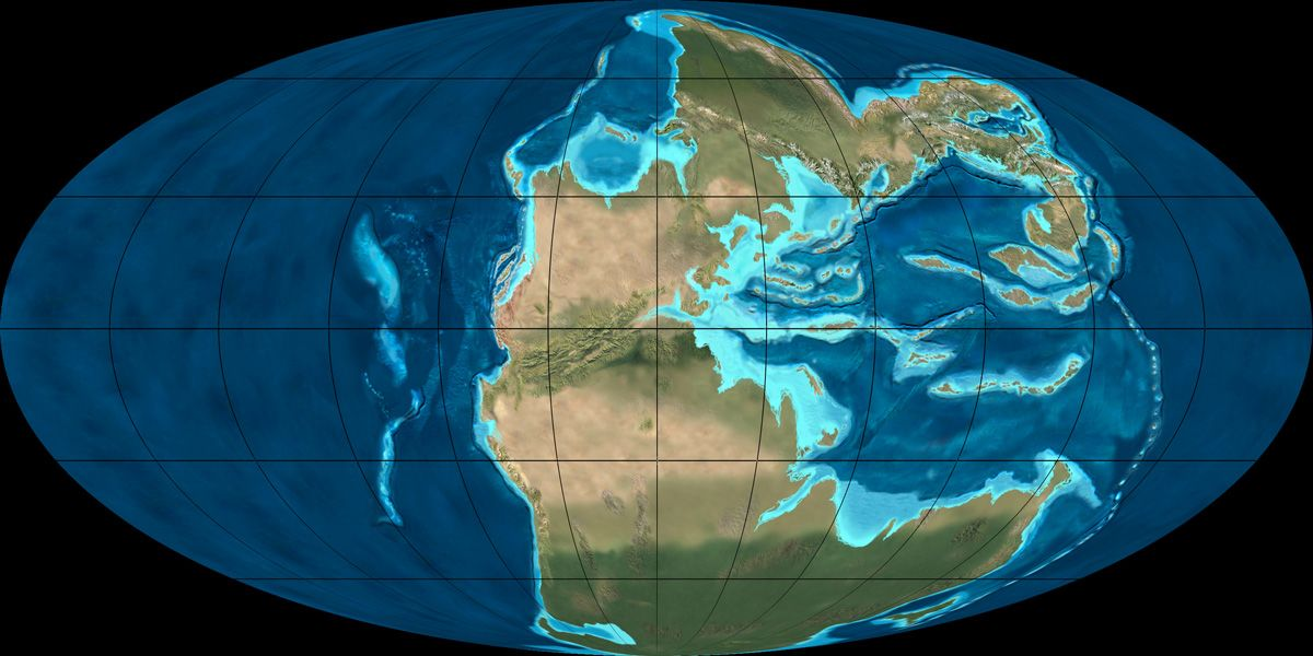 Paleogeographic reconstruction of pangea during the early middle mollewide oval globe plate tectonic map of the earth from the early to middle triassic gumiabroncs Images