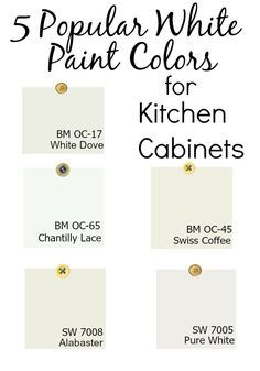 5 Popular White Paint Colors For Kitchen Cabinets. BM White Dove, BM Swiss  Coffee