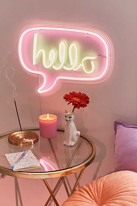 Hello Neon Sign NYC apartment #UoOnyou #UoHome http://rstyle.me/n ...