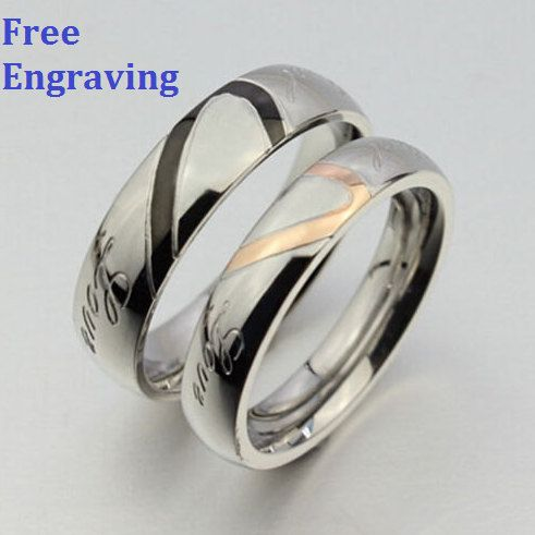 Heart Shape Titanium Steel 2 Pcs Couples Ring By Snowicejewelry