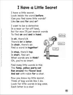 I Have a Little Secret (Words Within Words): Sight Words Poem