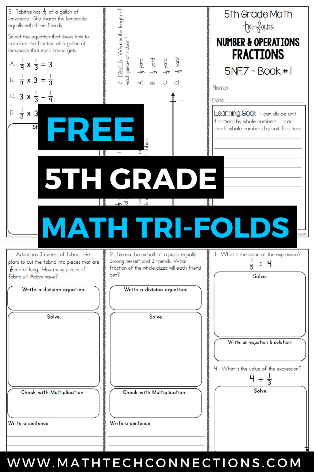 5th Grade Math Trifolds 5 Free Booklets For Guided Math Or Math Assessments Guided Math 5th Grade Math Math Assessment [ 1500 x 1000 Pixel ]