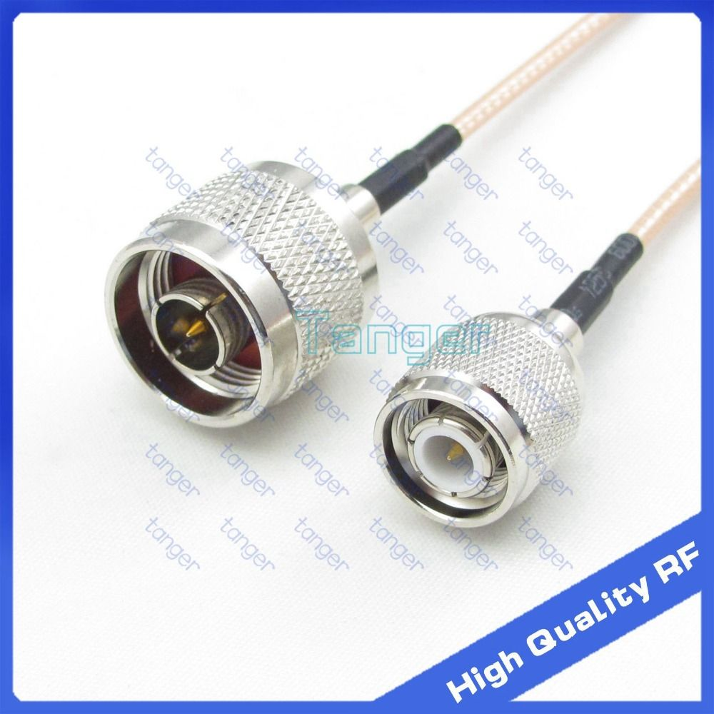 Cable BNC male plug right angle to N male plug straight RG142 Jumper pigtail 20/""