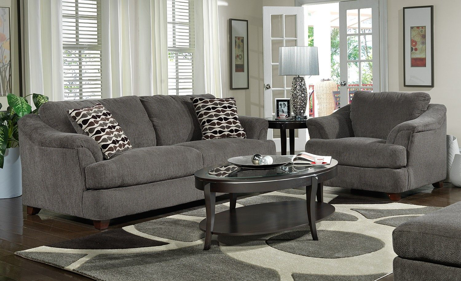 Furniture Grey Living Room Ideas With Cozy Dark Gray Sofa And