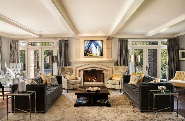 Wohnzimmer Farbgestaltung u2013 Grau und Gelb - Wohnzimmer - wohnzimmer ideen mit kamin
