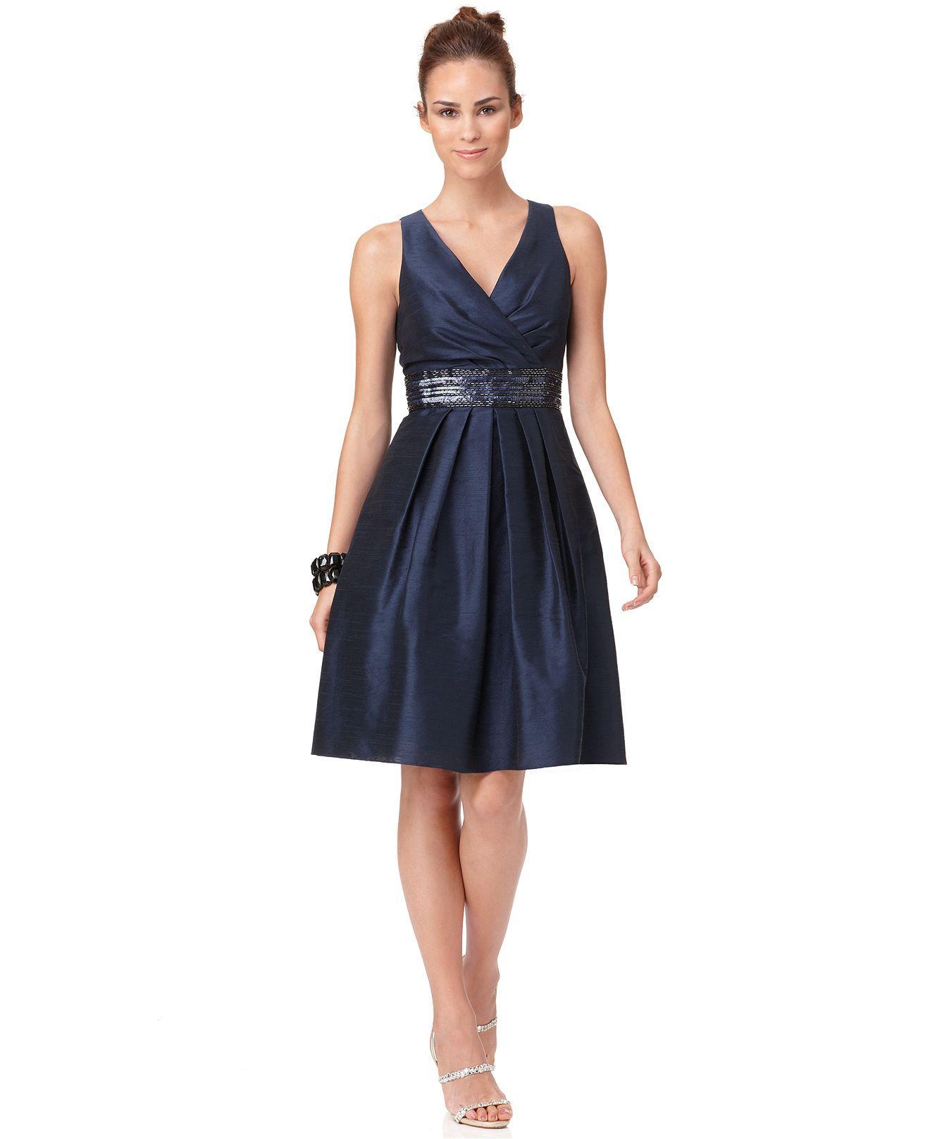 Js Boutique Dress Sleeveless Embellished Waist Womens
