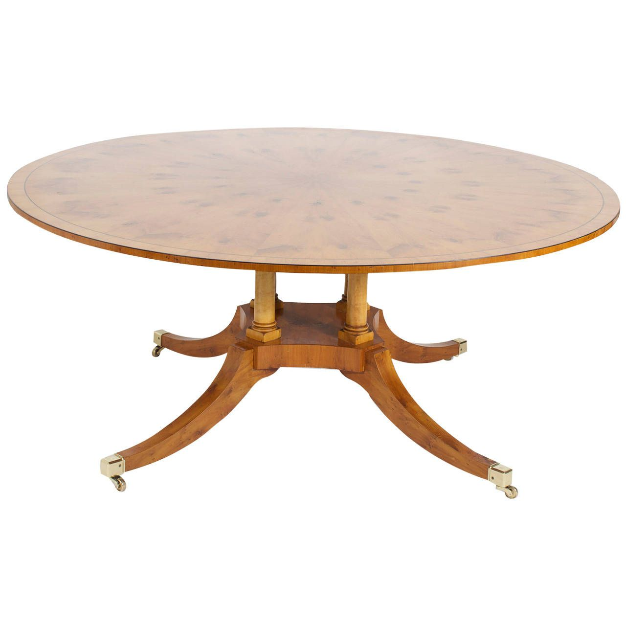 20th Century Round Yew Wood Regency Style Dining Table From A