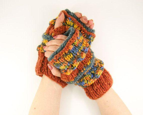 knit fingerless gloves arm warmers fingerless mittens  blue rusty orange mustard rustic unisex tagt team teamt