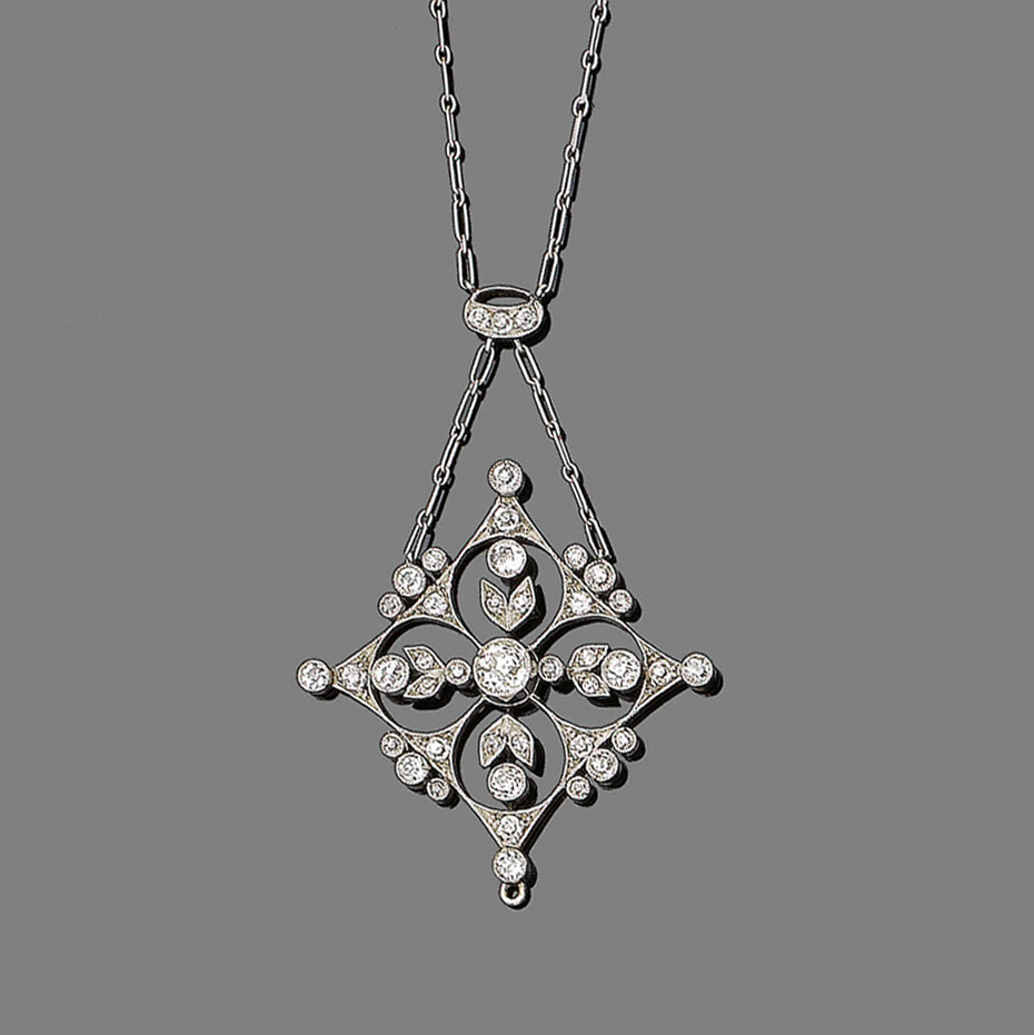A diamond pendant necklace, circa 1900  The finely pierced navette-shaped plaque of floral design, millegrain-set throughout with old brilliant and single-cut diamonds, to a similarly-cut diamond surmount and a figaro-link chain, diamonds approx. 1.05ct total