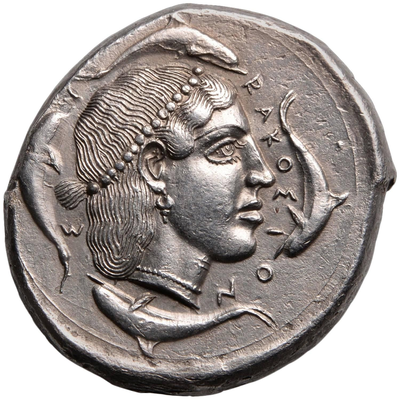 Ancient Greek Silver Tetradrachm Coin from Syracuse Sicily, 450 BC
