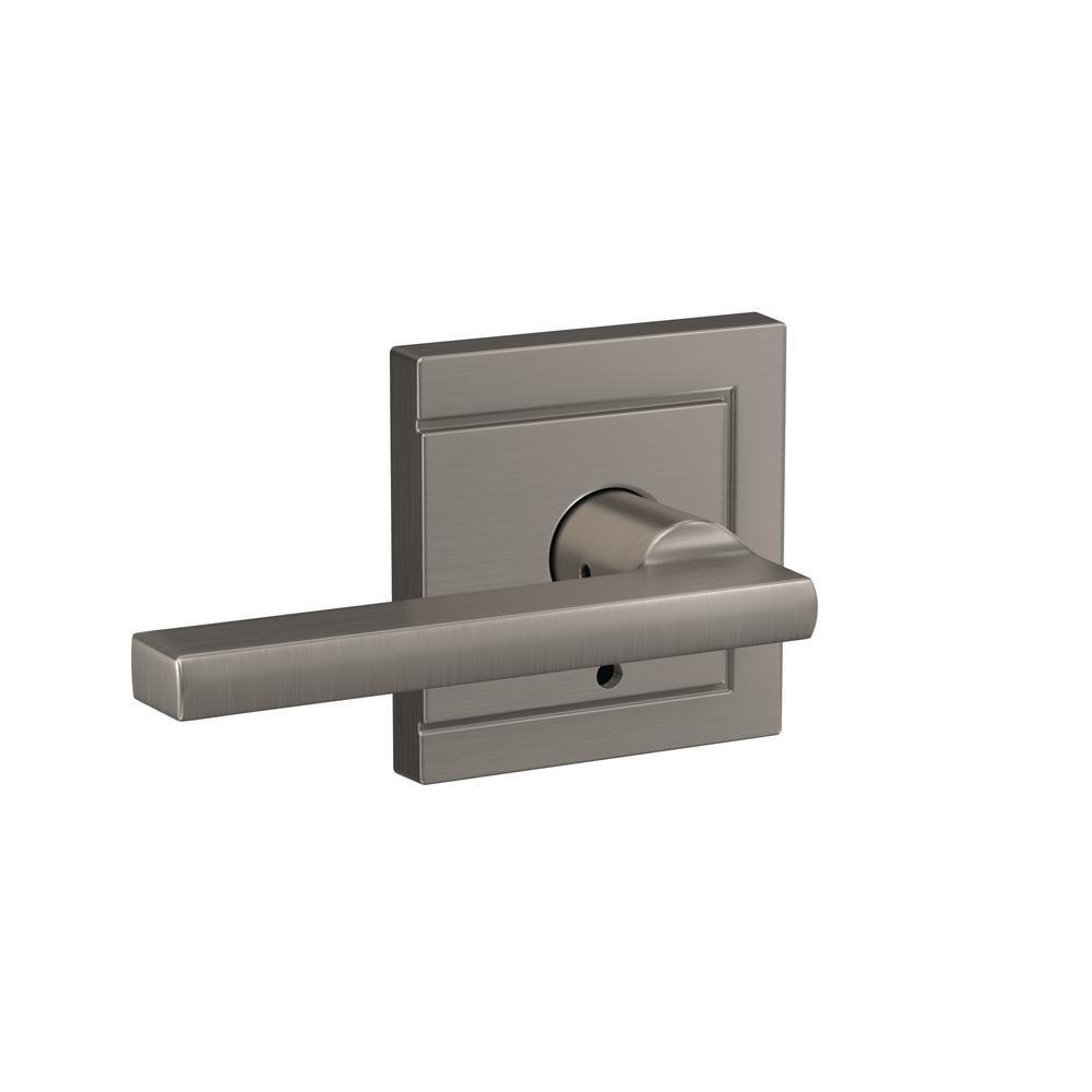 Schlage Custom Latitude Satin Nickel Upland Trim Dummy Door Lever 2 Pack Door Levers Home Depot Door Handles