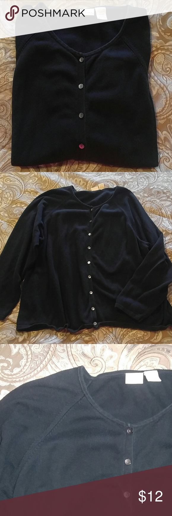 Plus Size Black cardigan Nice black sweater cardigan with grey ...