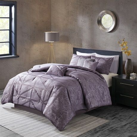 The Madison Park Dante Collection Adds A Touch Of Glam To Your Space The Soft Purple Provides The Perfect B Purple Comforter Comforter Sets Purple Duvet Cover