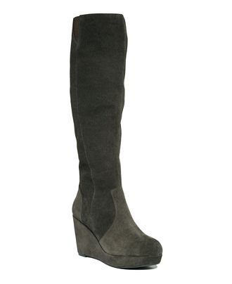 Steve Madden Women's Shoes, Ashleey Wedge Boots in grey suede