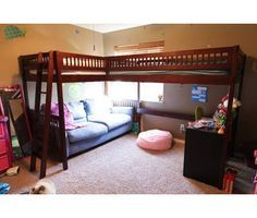 2 Loft Beds In One Room Google Search Double Loft Beds Bed For Girls Room Girls Bunk Beds