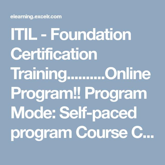 Itil Foundation Certification Trainingine Program