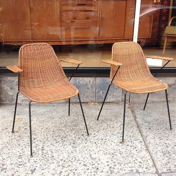 Set of 3, vintage, mid century modern, rattan reed, wrought iron frame, indoor/outdoor armchairs by Arthur Umanoff