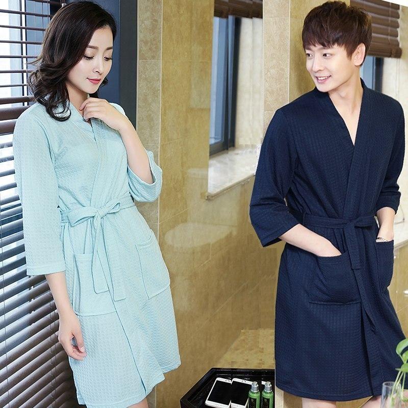 Hot Sale Lovers Summer ElegantSuck Sweat Towel Bath Robe Plus Size Men Sexy  Kimono Bathrobe Mens Dressing Gown Male Waffle Robes e139489cf