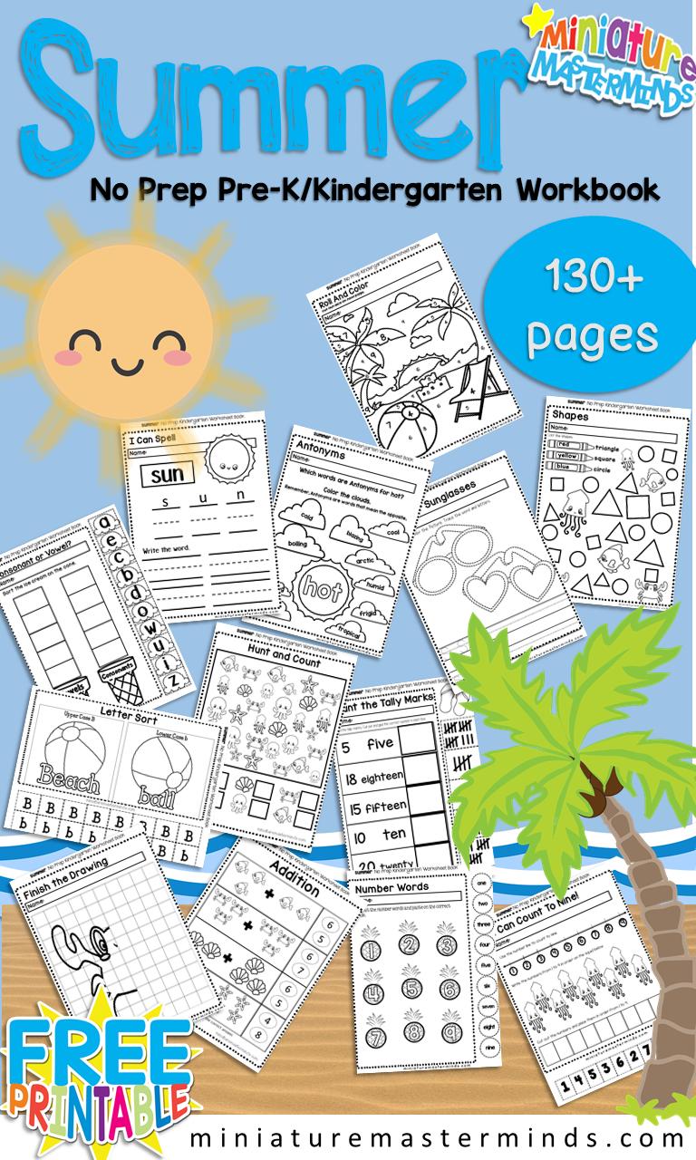 Summer No Prep Preschool And Kindergarten 130 Page Worksheet Book Summer Kindergarten Summer Preschool Summer Preschool Themes [ 1280 x 768 Pixel ]