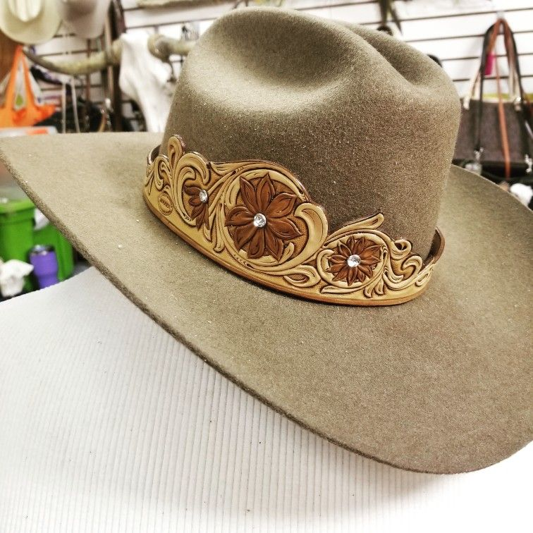 Tooled Leather Hatband In 2021 Leather Cowboy Hats Leather Hat Bands Leather Tooling