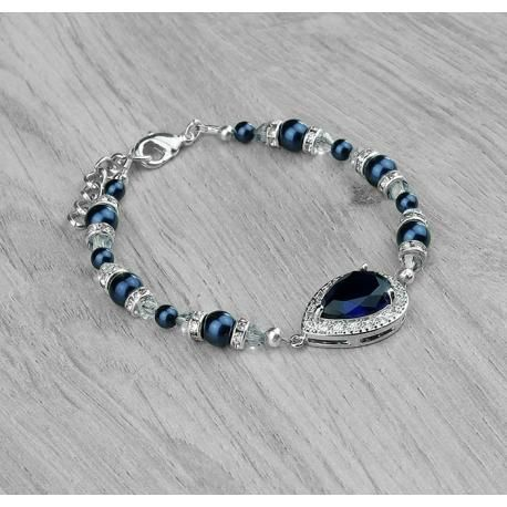 Bracelet mariage LISA bleu marine. Bracelet mariage sur plaqué argent  composé d\u0027un pendentif