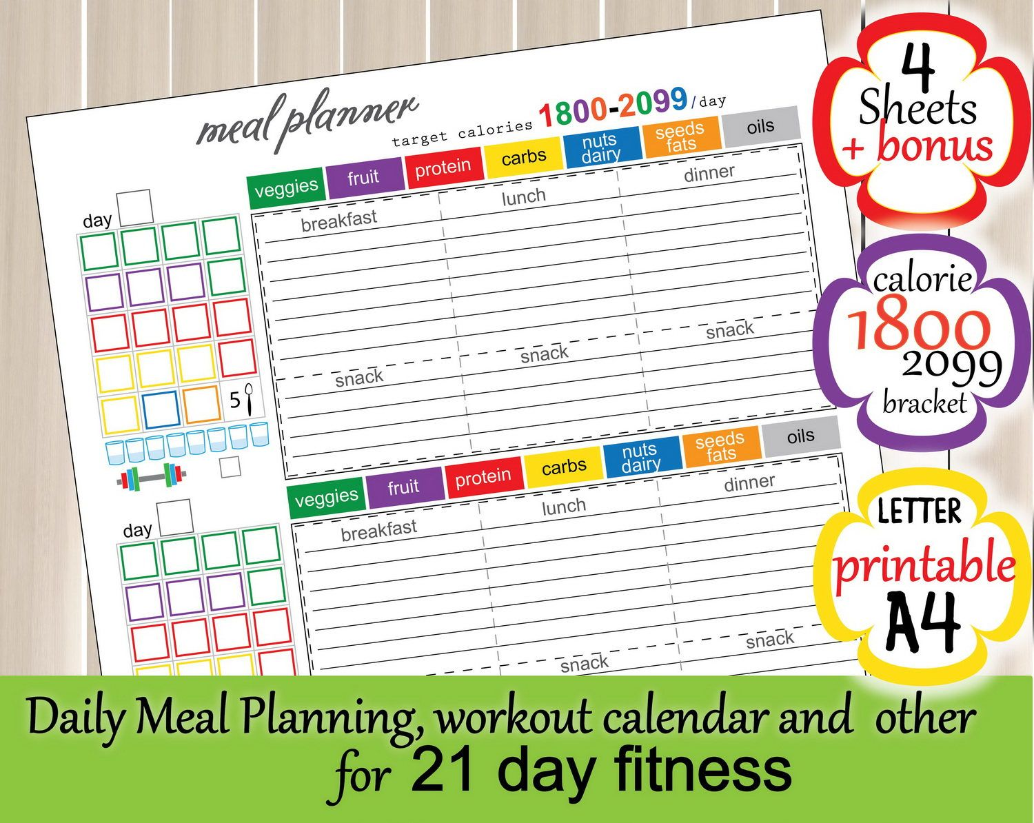 Calories Tracker 21 Day Meal Planner Food Journal