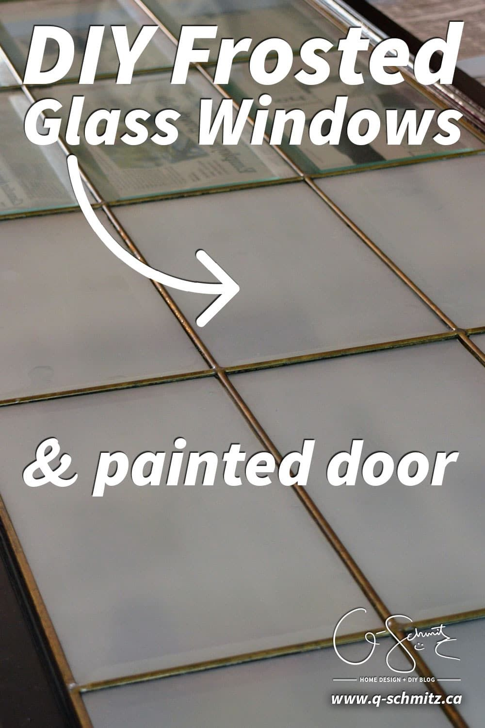 DIY Frosted Glass Windows + a Painted Door Frosted glass
