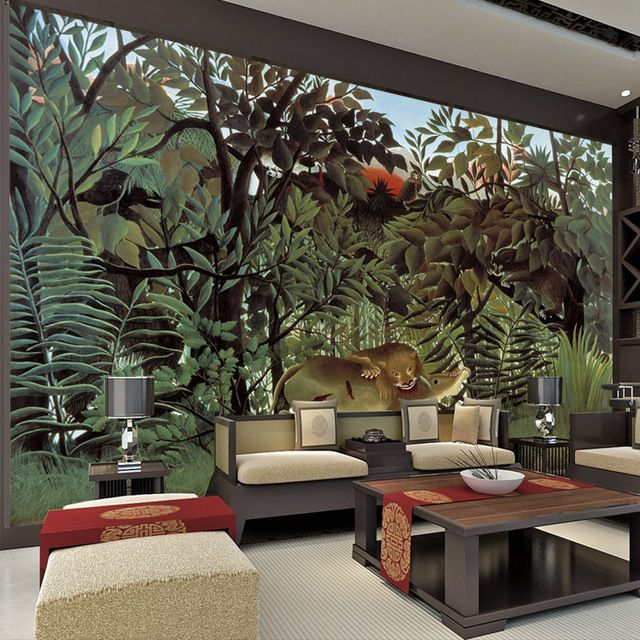 Rousseau jungle painting wallpaper custom 3d wall murals for Images of 3d wallpaper for bedroom