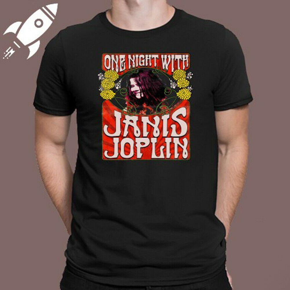 Details About One Night With Janis Joplin Logo Black T Shirt Size S M L Xl 2xl 3xl Black Tshirt Shirts Shirt Size