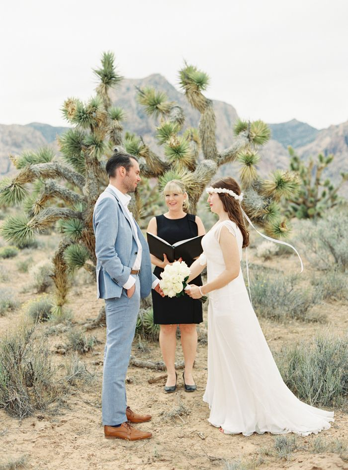 Small Intimate Las Vegas Desert Elopement With Joshua Trees At Red Rock Gabyj Photography And Officiant Peachykeenunion