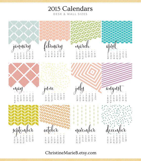 July Calendar Design : Monthly wall calendar bold modern colorful designs
