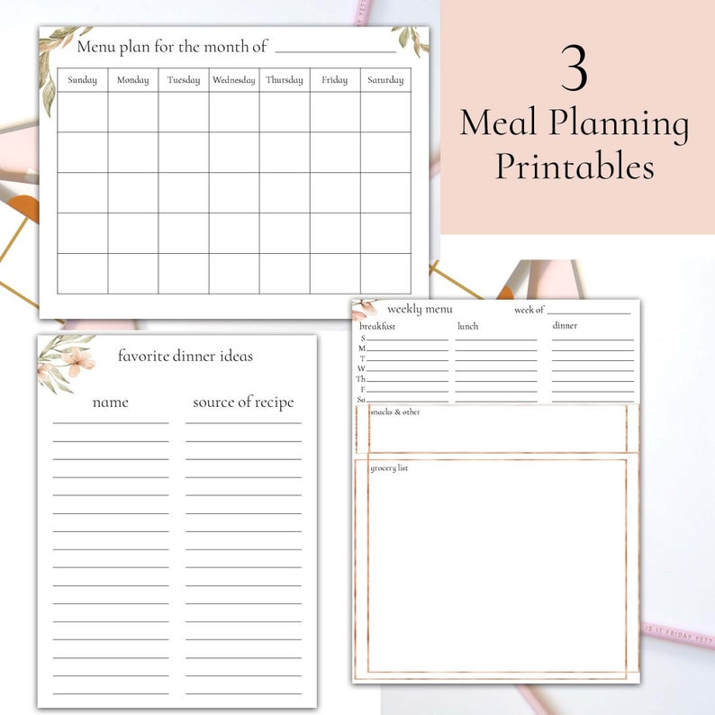 Meal Planning Printables Weekly Menu, Monthly Menu
